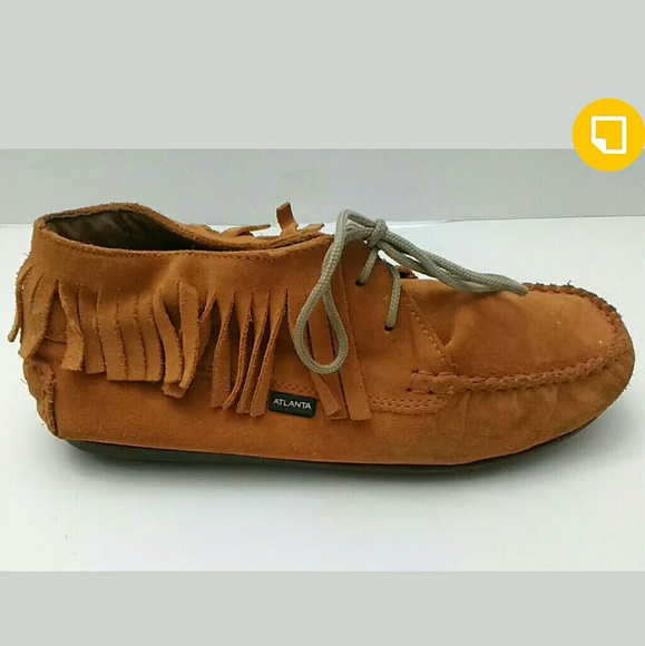 6d82375c45b96 atlana moccasins Shoes | Atlanta Moccasins Orange Suede Fringe ...